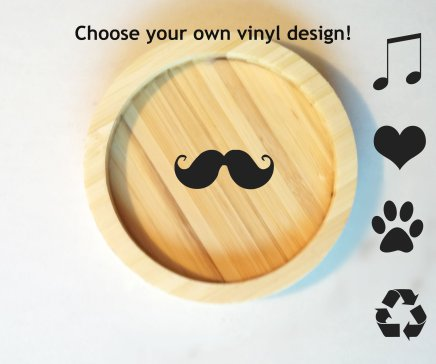 Custom Vinyl Design – Bamboo Coasters. Holla!
